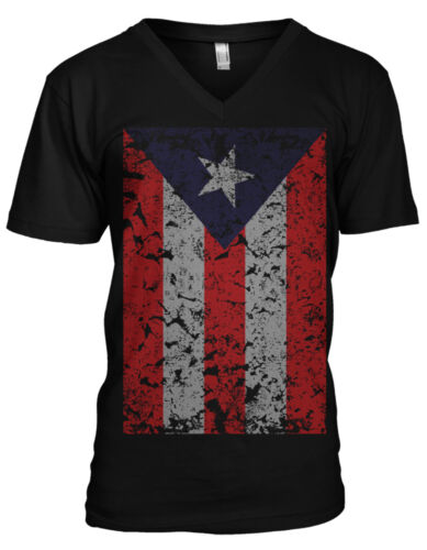 Puerto Rico Faded Flag Rican Country Colors Born From PRI Men/'s V-Neck T-Shirt
