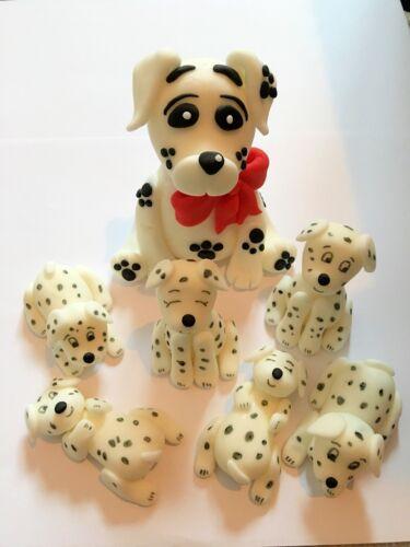 Comestible Grand Dalmatien et chiots chien cake topper decoration
