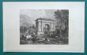 ITALY-Entrance-to-Aosta-1833-Antique-Print-Engraving