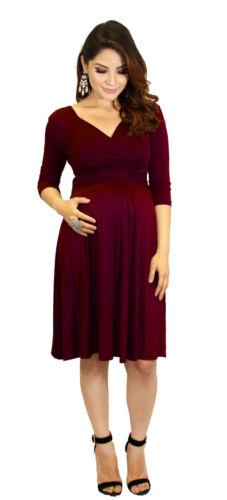 Purple 3//4 Sleeve Long Past Knee Solid Dress Maternity Wedding Womens Multi Colo