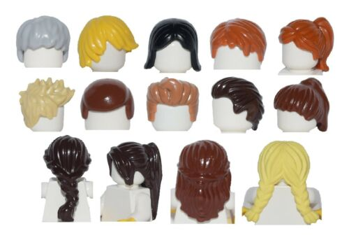 ☀️NEW LEGO LOT 14x FEMALE MALE MINIFIGURE HAIR WIGS PONYTAILS BROWN BLONDE BLACK