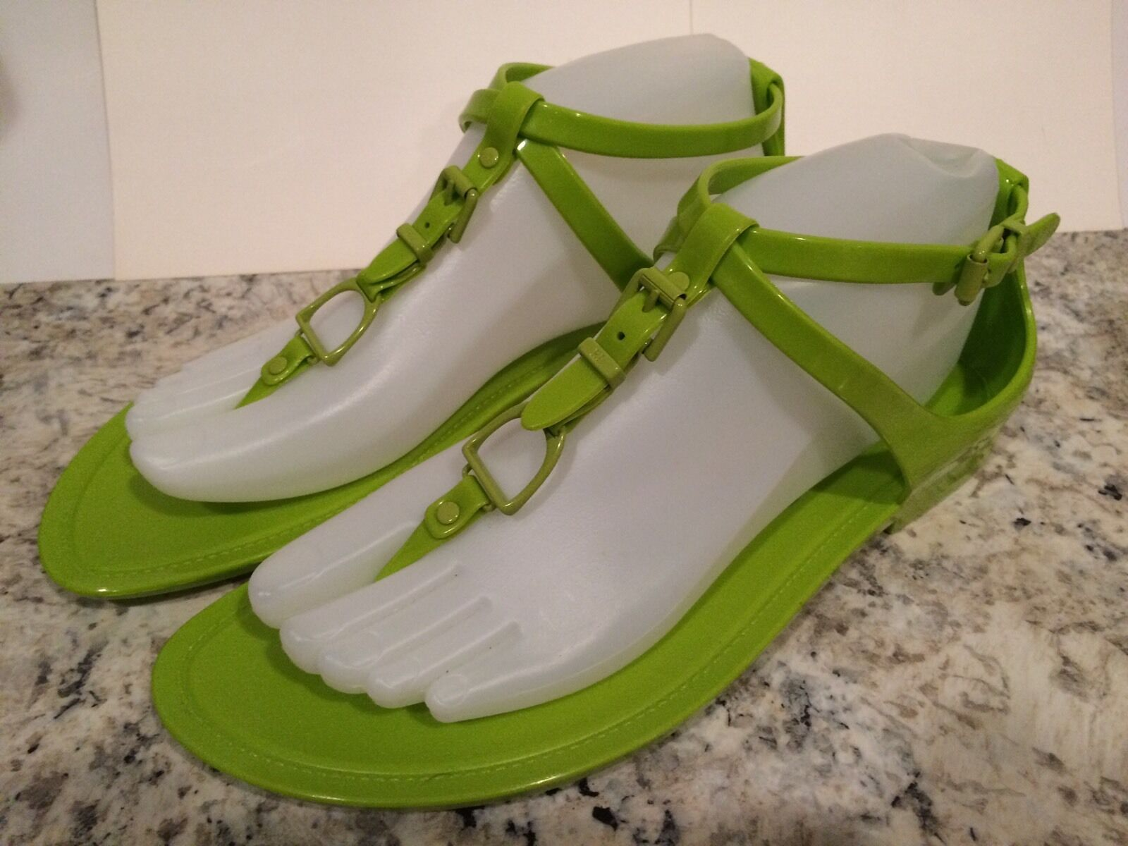 Ralph Lauren Collection Karly Sandals Flat Jelly Beach Lime Green 8  195
