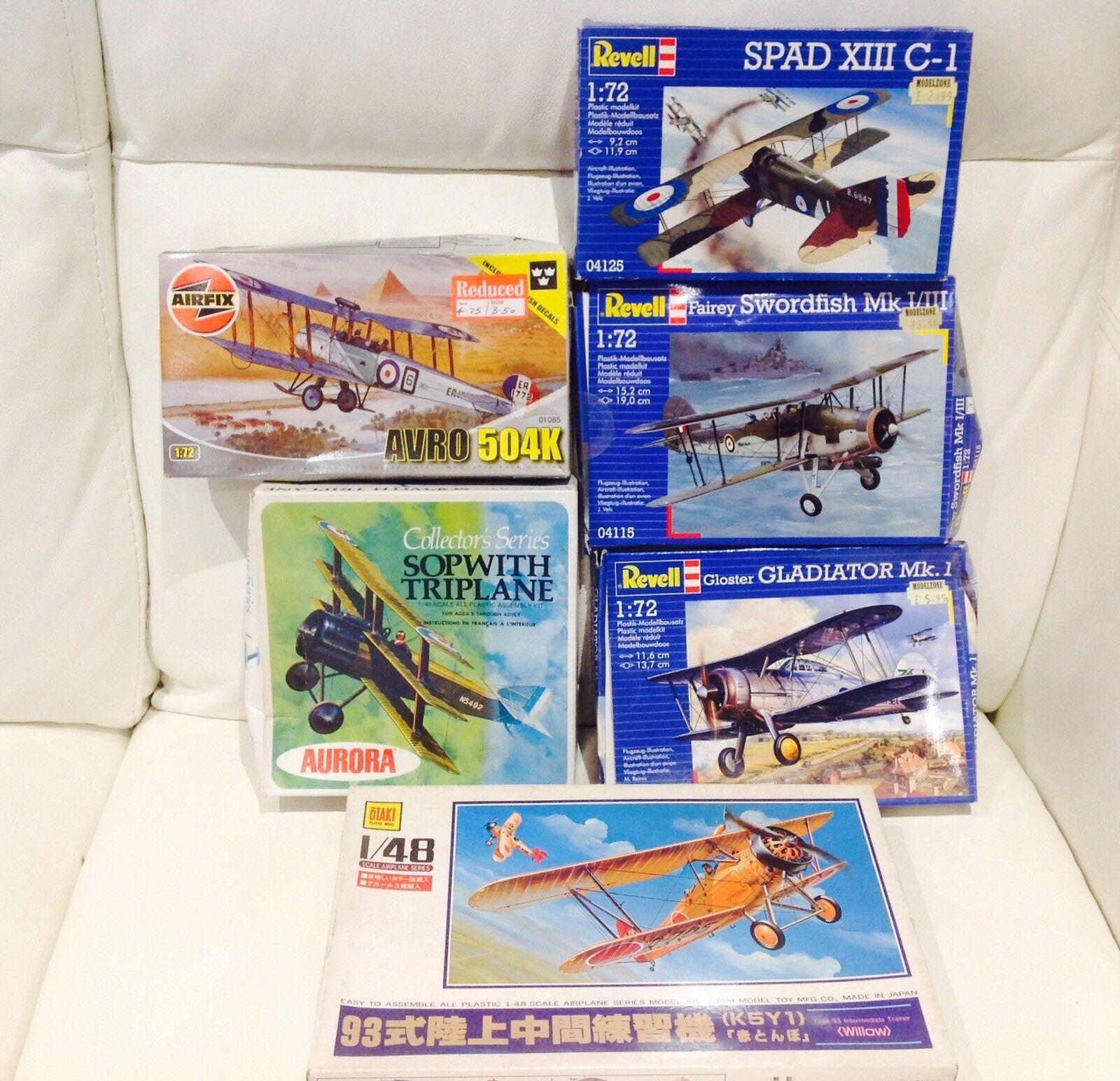 AIRFIX REVELL Bi-planes Sea land Plane WW1 WW11AIRCRAFT Job Lot bundle