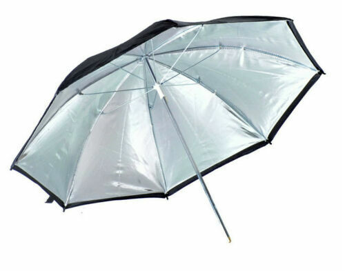 "Kood 47"" (117.5cm) Black / Silver Reflective Studio Umbrella (UK Stock) BNIP"