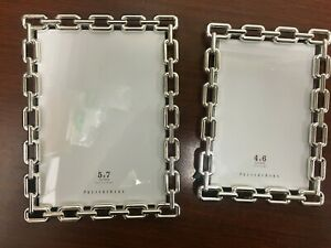 New Pottery Barn Silver Chain Picture Frame 4x6 5x7 8x10