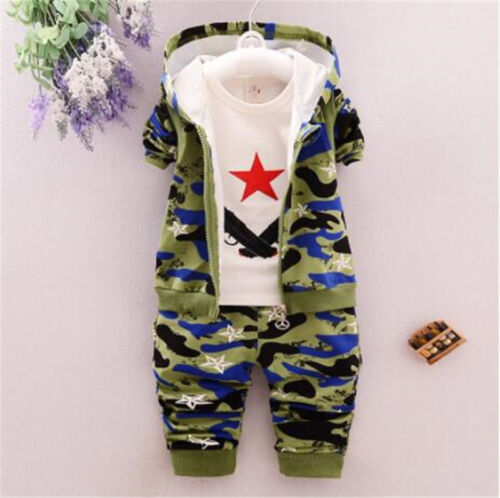 3PCS Boy Camo Split Clothes Kids Baby Clothing Suits Outfit T-shirt Jacket Pants