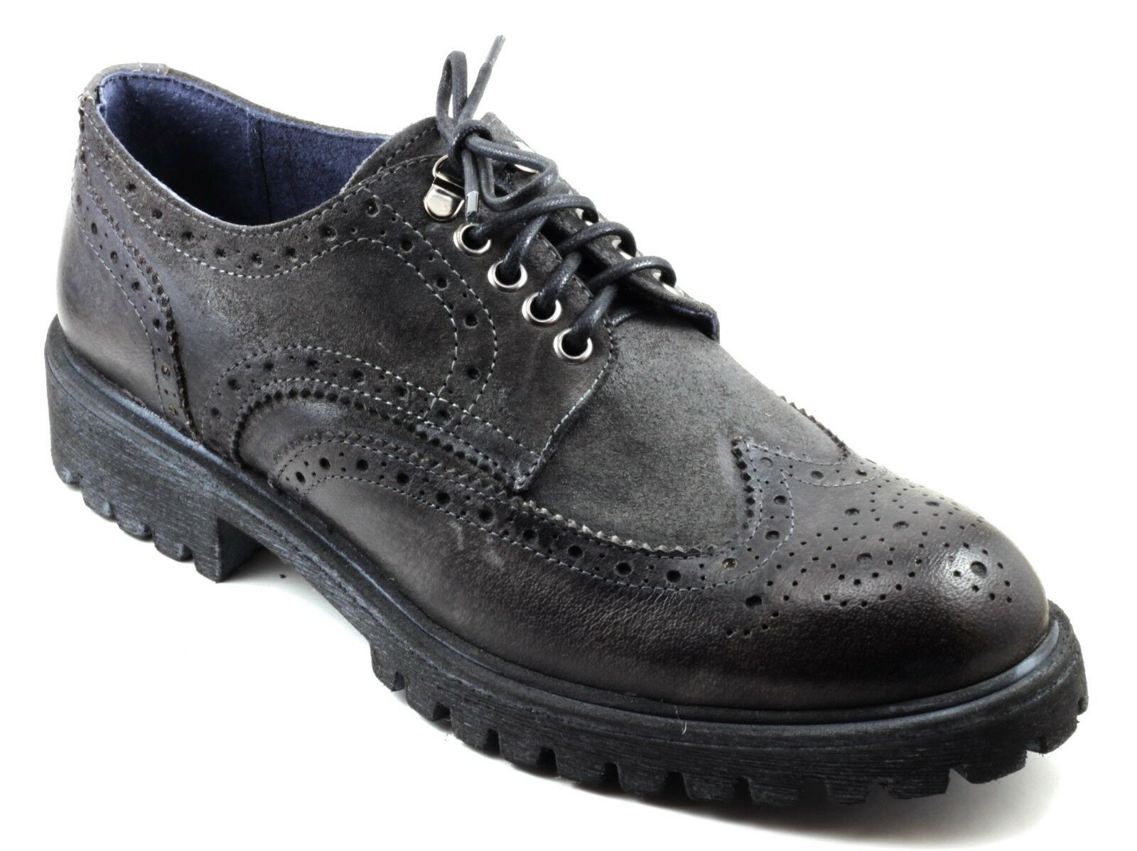 zapatos hombres CASUAL STILE INGLESE ALLACCIATE PELLE BUFALO negro n.44 Made in