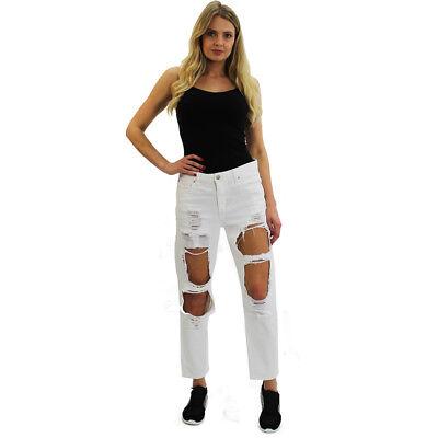 New! Women Destroyed Ripped Distressed Slim Denim Pants Boyfriend Jeans Trousers