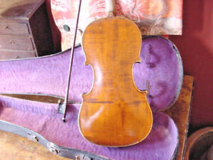 ANTIQUE-VIOLIN-4-4-FULL-SIZE-AND-OLD-BOW-AND-OLD-CASE-C1900-UNMARKED-AMERICAN