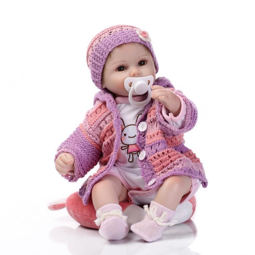 16 pulgadas Muñeca Bebé Reborn niña bebé de silicona muñeca ojos abiertos con pelo de ropa