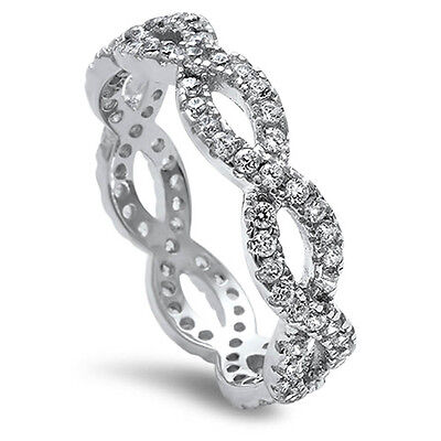 Beautiful Cz Infinity Sign LOVE Forever.925 Sterling Silver Ring Sizes 3-12