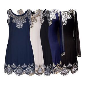 Annees-1920-Vintage-Clapet-Downton-Gatsby-Charleston-Mousseline-Sequin-Robe-Robe-8-24