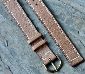 Long-Length-contrast-stitching-Genuine-Pigskin-14mm-vintage-watch-band-1940-1950