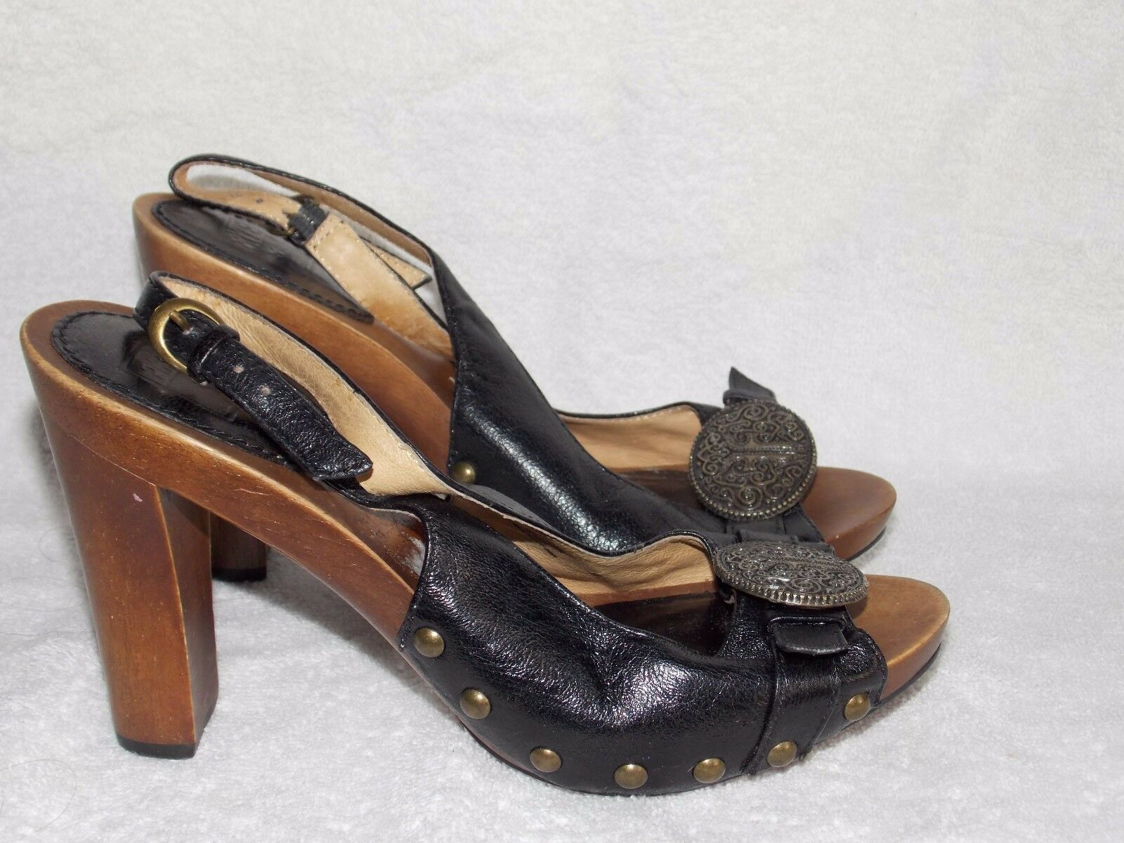 Frye nero Leather DOLLY METAL Sling Peep Toe Heels 5.5M For donna Used