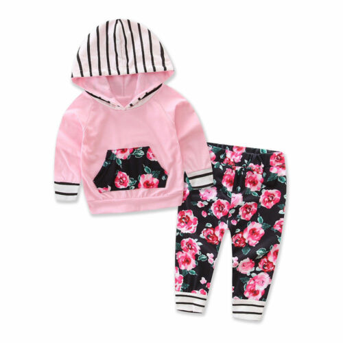 1PCToddler Infant Baby Girl Floral Striped Hoodie Tops Pants Outfits Clothes Set