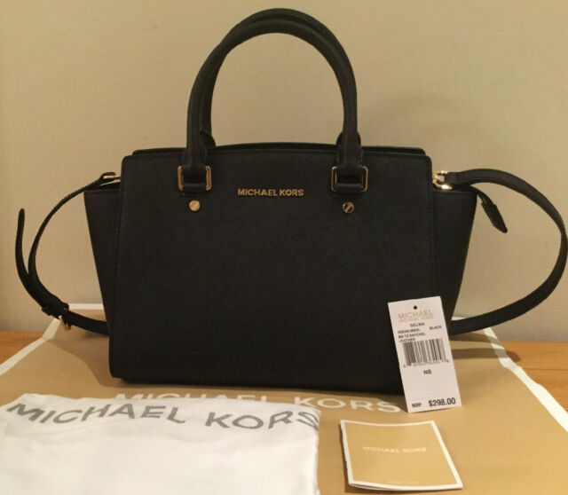 Michael Kors Selma Medium Satchel Bag Saffiano Leather 30S3GLMS2L Black