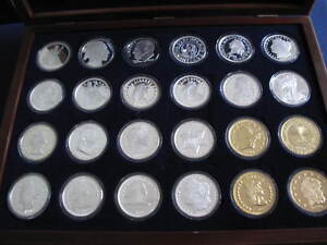 1982-Crabtree-Mint-America-039-s-Rarest-Coins-Silver-Art-Medals-Set-of-24-P2752