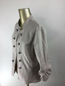 955ed93591fa Image is loading VANITY-Button-Down-Lace-Lining-Gray-Linen-Blazer-