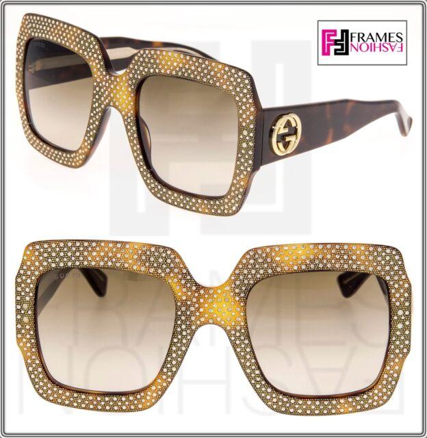 c5a04e92793 GUCCI RHINESTONE 0048 Brown Havana Crystal Oversized Sunglasses GG0048S 3861