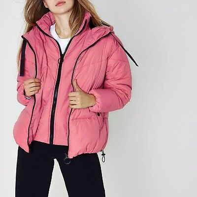 Pink Puffer Coat River Island **SIZE 14** | eBay
