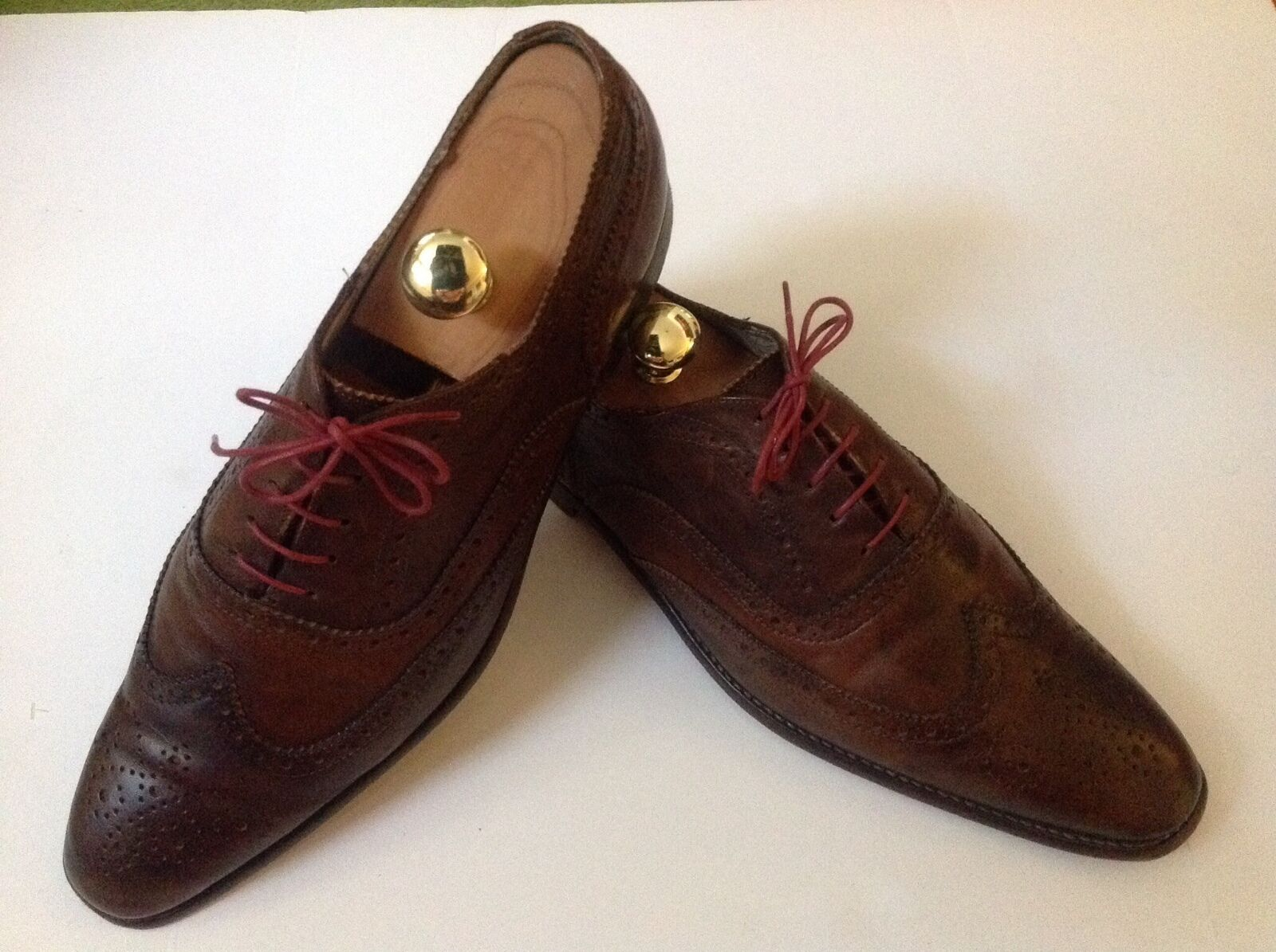 Paul Smith - PAIR of Marronee HANDCRAFTED ANTIQUED WINGTIPS Dimensione 10UK 44 EURO