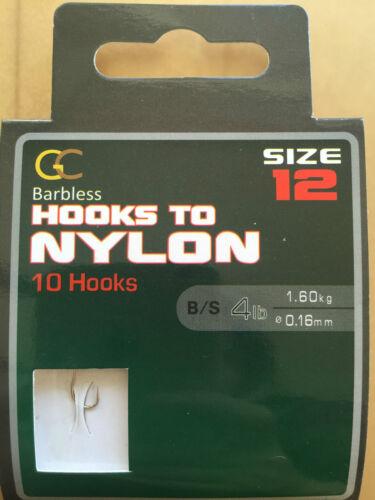 GREAT BARBLESS HOOKS to Nylon Size 12 Coarse Carp match Fishing