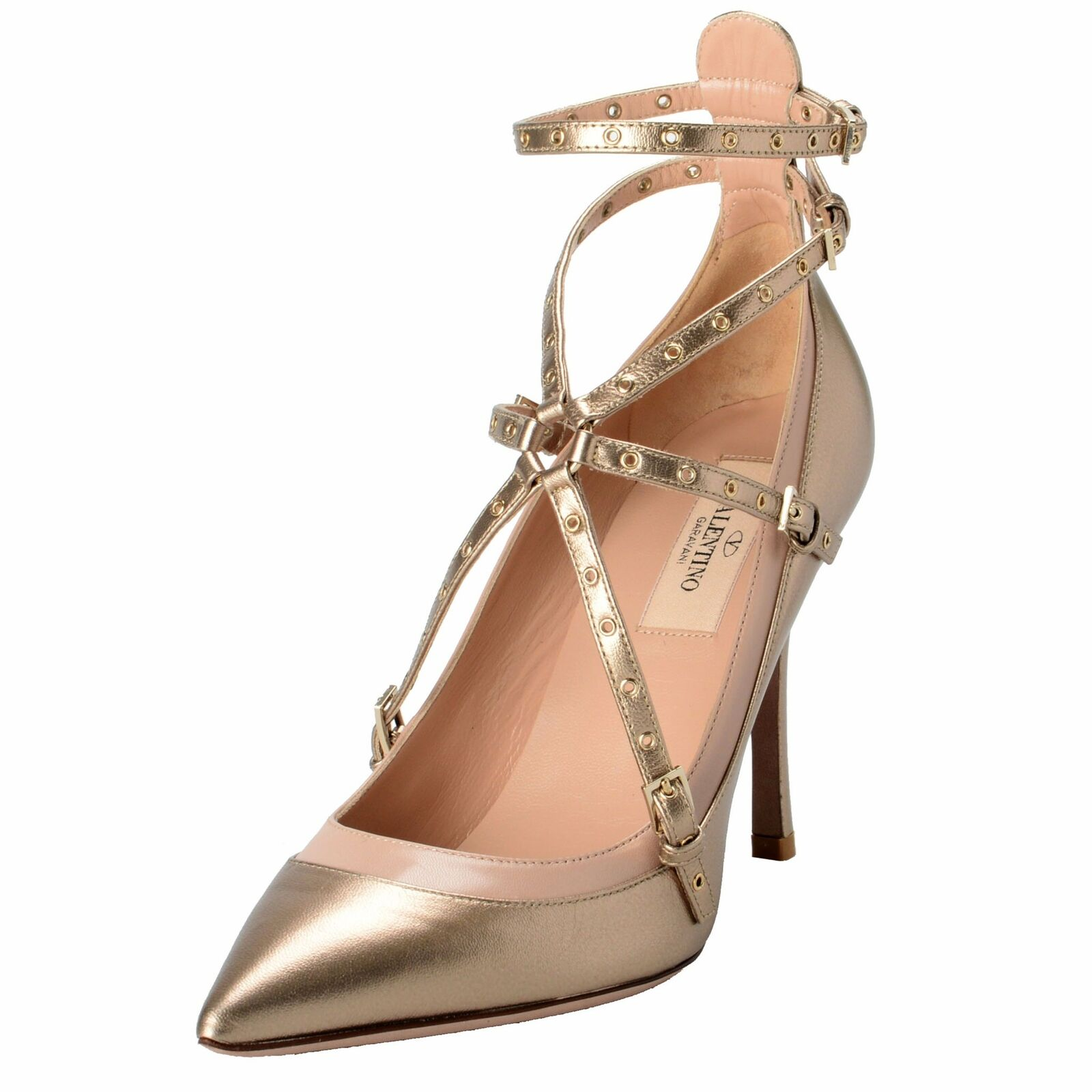 Valentino Garavani Women's Leather golden Ankle Strap High Heels shoes