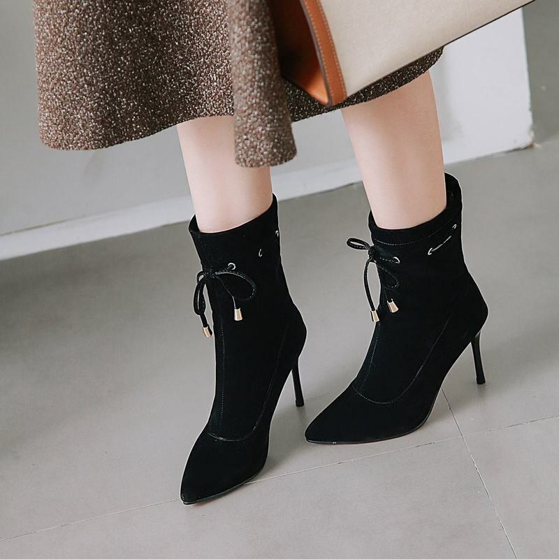 Ladies Lace Up Pointy Toe Stiletto Heels Elegant Ankle Boots Casual Party shoes
