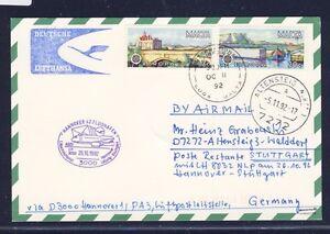 52860-LH-1-Nacht-LP-Hannover-Stuttgart-26-10-92-Karte-ab-Malta-Stpl-violett
