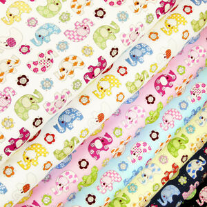 100 cotton fabric fq rainbow flower elephant animal print for Animal print fabric for kids