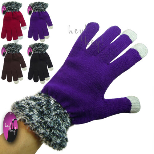 Touch Screen Gloves Ladies Colours Fine Knitted Winter Gift Fluffy Fashion Cuff