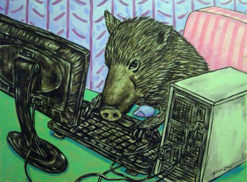 Javelina working on the computer animal art 8.5x11 glossy photo print
