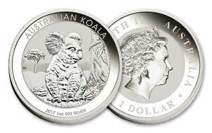 Koala-Silver-Coin-Bullion-2017-Australian-Perth-Mint-1oz-99-9-in-Capsule-x1