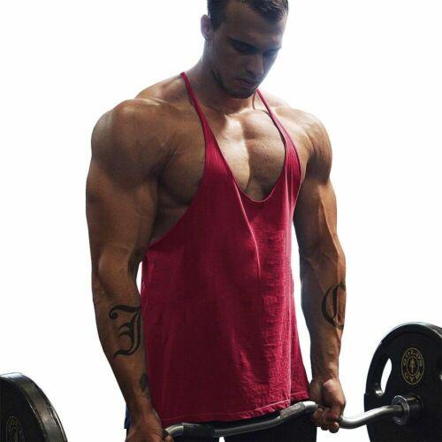Gym Men Muscle Workout Fitness Solid Tank Top Y Back Bodybuilding Stringer Vest