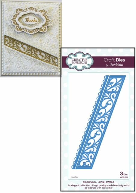 Creative Expressions DIAGONALS COLLECTION Lavish Swirls CED5603 by Sue Wilson