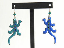 Hand Crafted Enamel Lizard Pierced Earrings Blue / Teal French Hooks