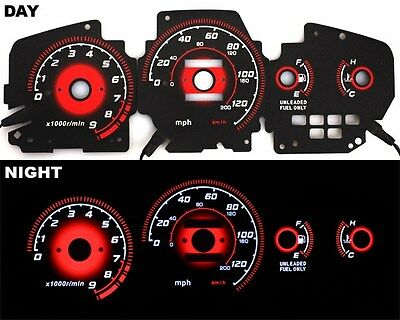 92-95 EG Honda Civic EX Si RED Reverse Glow Gauge Type-R BLACK MT