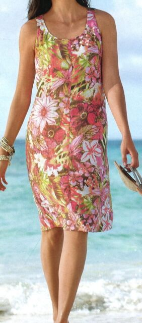 J.Jill DRESS  Printed Linen Tank Dress 3X  NWT  $89  Sunset Red Paradise Floral