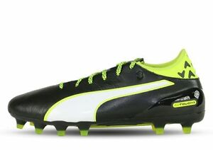 a2cd5e603dce PUMA Mens Evotouch 2 FG Soccer Shoe Black White Leather Grey 8 10.5 ...