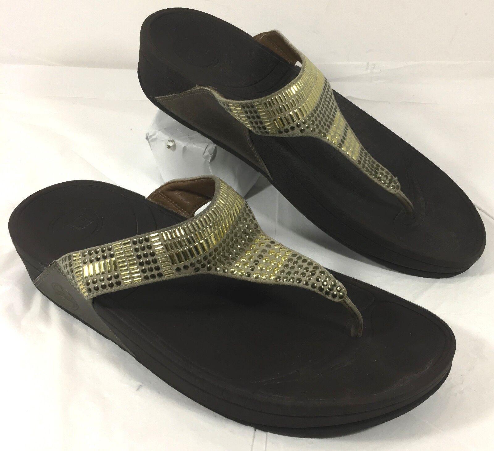 GUC Women's FitFlop Aztec Chada Flip Flops Gold Studs Sz 10