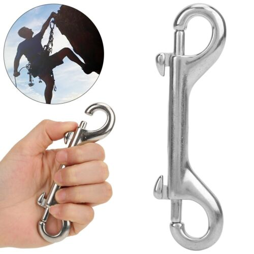 1PCS 316 Stainless Steel Double Ended Spring Snap Hook Key Holder Clip Keychain