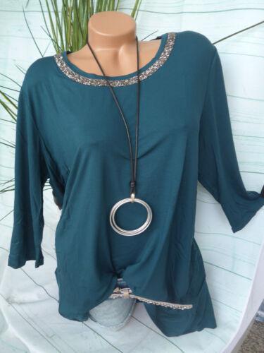 42-54 Grün mit Pailletten NEU Via Appia Due Shirt Bluse Tunika Gr 859