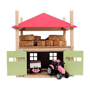 Spielzeug-Holz-Heuschober-mit-Lager-Heulager-Bauernhof-Gebaeude-rosa-M-1-32