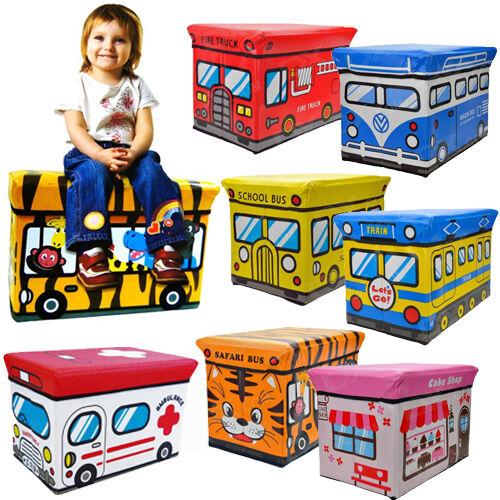 KIDS BOYS GIRLS STORAGE SEAT STOOL TOY BOOKS CLOTHES BOX CHEST CHILDRENS NEW