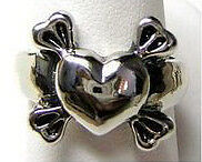 New Gothic Heart and Cross bone Silver 925 ring Jewelry