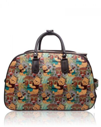 UK New Women's Kids Disney Character Winnie The Pooh Print Holdall Trolley Bag