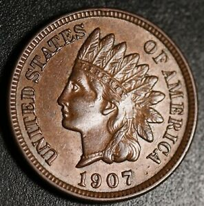 1907-INDIAN-HEAD-CENT-AU-UNC-With-BOLD-REPUNCHED-DATE-SNOW-10-RPD