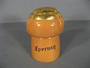 Box Earthenware Champagne Beautiful Pot In Trompe-l'oeil'eye Cap Champagne Epernay Other Antique Decorative Arts