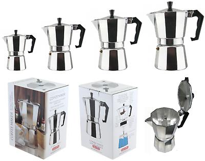 Stovetop IN ALLUMINIO MOKA ESPRESSO CAFFETTIERA a Filtro Maker 3//6 TAZZE SILVER NEW