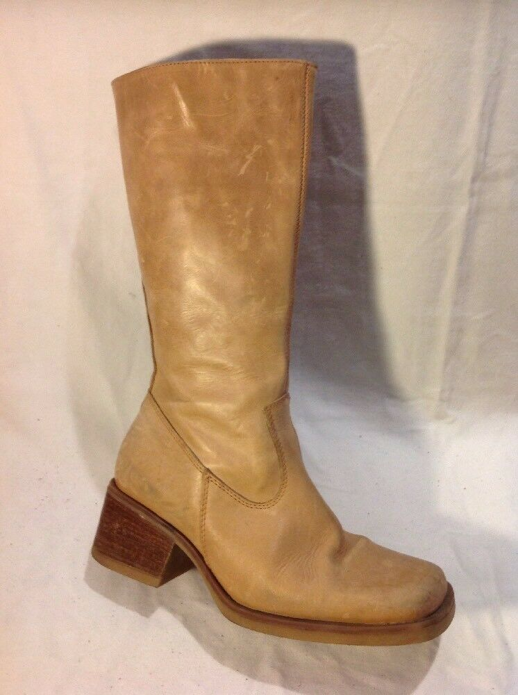 Saxone Brown Mid Calf Leather Boots Size 39